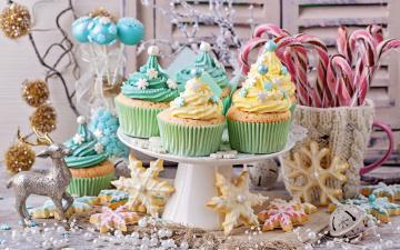 Картинка праздничные угощения конфеты кексы сладости новый год выпечка печенье рождество decoration christmas merry