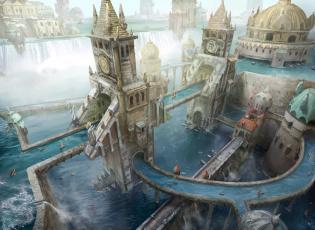 обоя фэнтези, замки, реки, люди, водопад, лодки, город, magic, the, gathering, -, wizards, of, coast, башни