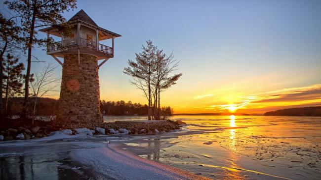 Обои картинки фото природа, восходы, закаты, закат, лед, озеро