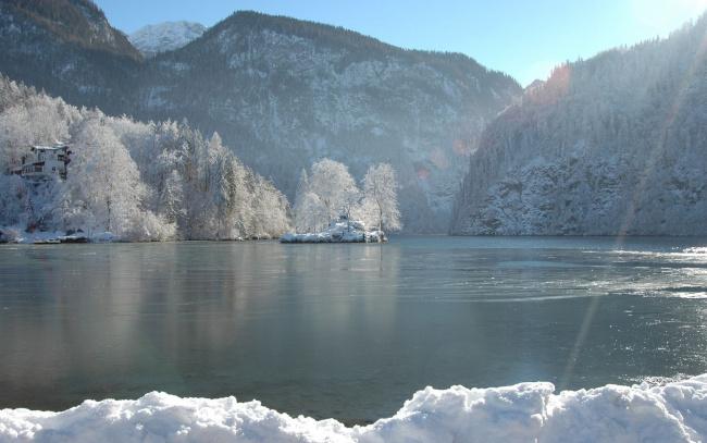 Обои картинки фото природа, реки, озера, деревья, снег