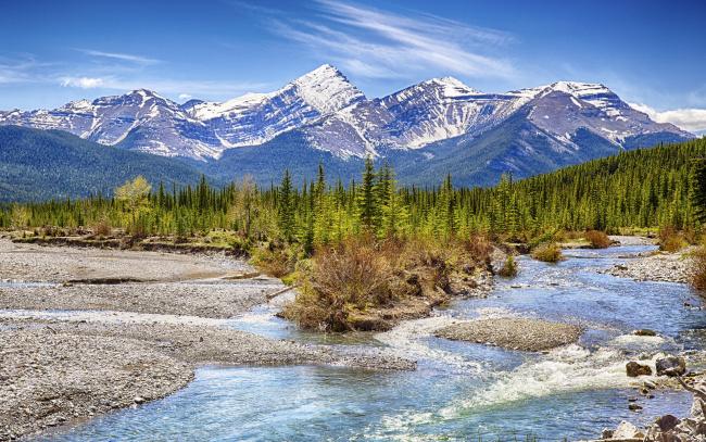 Обои картинки фото природа, реки, озера, река, лес, горы