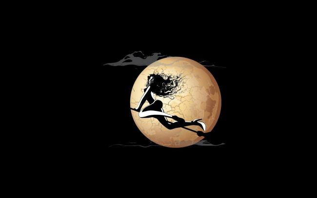 Обои картинки фото рисованное, минимализм, ведьма, луна, ночь