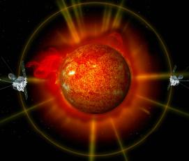 Картинка nasa+satellite+stereo космос арт спутники орбита корона солнце