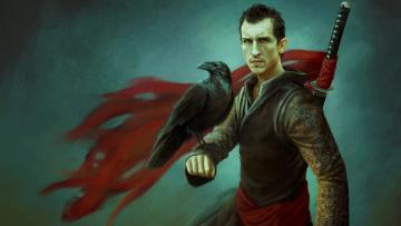 Картинка фэнтези люди ворон воин меч катана мужчина
