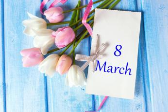 обоя праздничные, международный женский день - 8 марта, записка, тюльпаны, дата, надпись