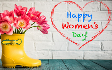 обоя праздничные, международный женский день - 8 марта, heart, love, gift, розовые, тюльпаны, 8, марта, pink, romantic, tulips, цветы