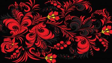 Картинка векторная графика хохлома узор цветы фон