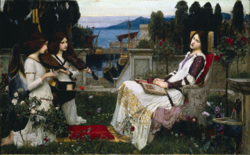 обоя saint, cecilia, рисованные, john, william, waterhouse, скрипка