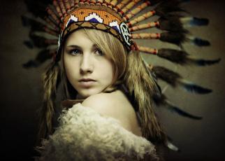 обоя разное, cosplay , косплей, дикий, запад, перья, индианка, девушка, портрет