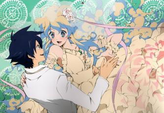 обоя аниме, tengen toppa gurren-lagann, принцесса, simon, голубые, волоса, оборки