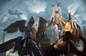 обоя фэнтези, демоны, рога, крылья, взгляд, фон, мужчины, девушки