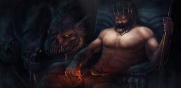 обоя фэнтези, демоны, мужчина, церберы, взгляд, фон