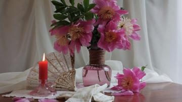 обоя цветы, пионы, свеча, веер, перчатки, букет