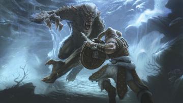 обоя фэнтези, существа, нападение, циклоп, схватка, рыцарь, викинг, чудище, монстр