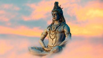 обоя shiva, разное, религия, статуя, небо, медитация, облака