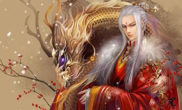 обоя фэнтези, люди, юноша, халат, красный, дракон, иероглифы, китай