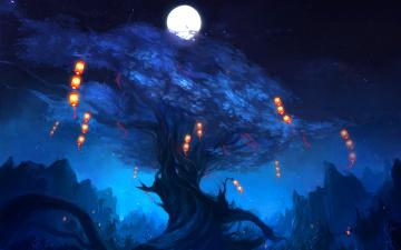 обоя фэнтези, иные миры,  иные времена, дерево, ствол, корни, луна, небо, фонари, ночь