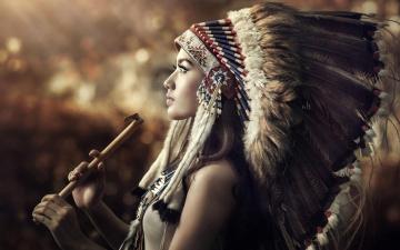 обоя разное, cosplay , косплей, трубка, дикий, запад, перья, индианка, девушка