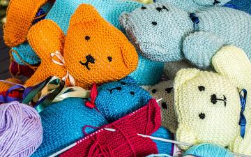 обоя разное, ремесла,  поделки,  рукоделие, вязание, спицы, нитки, коты