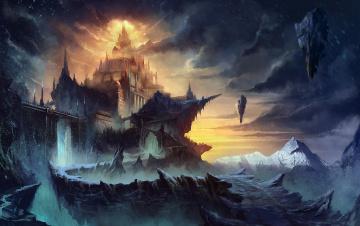 обоя фэнтези, иные миры,  иные времена, город, небо, тучи, скалы, горы, снег, вершины, дома