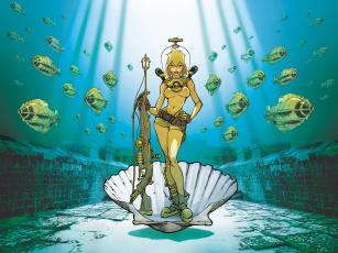 обоя рисованное, комиксы, фон, рыбы, ружьё, девушка, ракушка