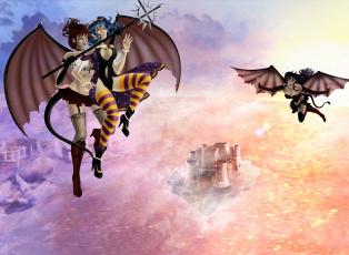 обоя рисованное, комиксы, фон, девушки, полет, крылья