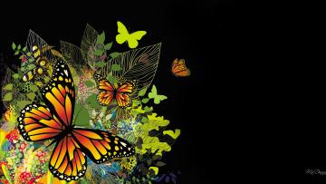 обоя векторная графика, животные , animals, листья, бабочки