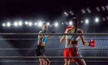 обоя спорт, бокс, девушки, взгляд, фон