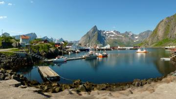 Картинка норвегия нурланн reine города панорамы домики река