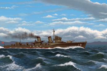 Картинка корабли рисованные волны облака дым иероглифы
