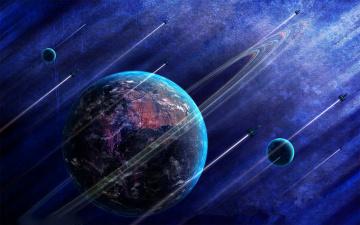 Картинка космос арт спутник планета след траектория ракета