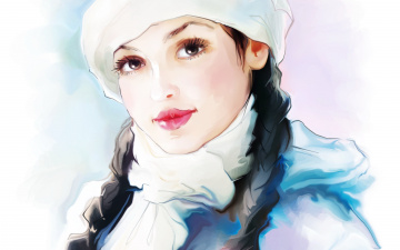 Картинка рисованное люди фон взгляд девушка