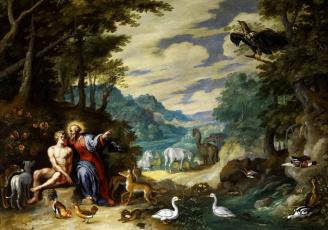 обоя рисованное, живопись, Ян, брейгель, младший, картина, в, эдемском, саду, мифология