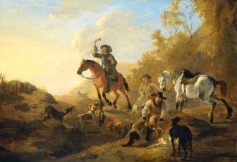 обоя рисованное, живопись, пейзаж, дирк, стоп, картина, группа, охотников, масло, дерево, жанровая