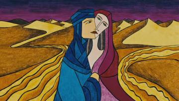 обоя рисованное, живопись, пустыня, араб, девушка