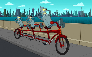 обоя мультфильмы, futurama, bender, фон, велосипед