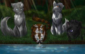 Картинка рисованные животные +коты река коты