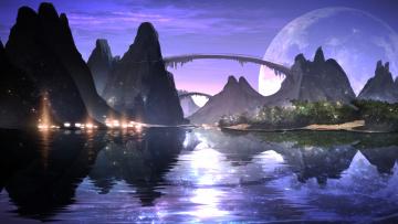 обоя фэнтези, пейзажи, пейзаж, горы, мост, озеро