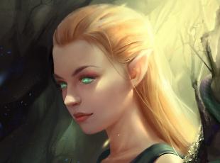 обоя фэнтези, эльфы, взгляд, эльфийка, fantasy, зеленые, глаза, профиль, art