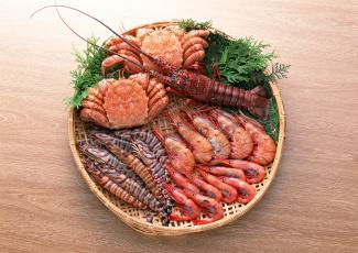 обоя еда, рыба,  морепродукты,  суши,  роллы, суши, крабы, креветки, омар, морепродукты