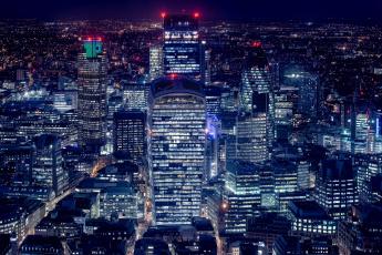обоя города, - огни ночного города, огни, англия, дома, лондон, панорама, ночь