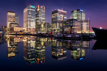 обоя города, лондон , великобритания, огни, ночь, англия, дома, лондон, отражение