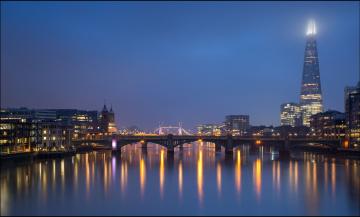 обоя города, - огни ночного города, мост, река, англия, темза, огни, лондон, ночь