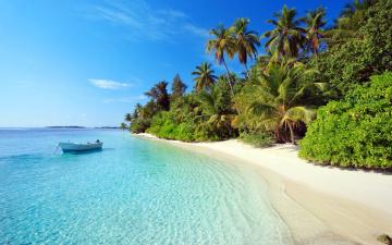 обоя природа, тропики, мальдивы, остров, отдых, пальмы, лодка, пляж, море