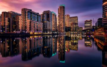 обоя города, лондон , великобритания, ночь, англия, дома, лондон, отражение