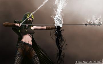 Картинка фэнтези девушки стрела лук воин девушка