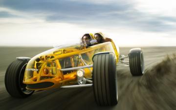 обоя автомобили, rinspeed, скорость, желтый, девушки, концепт