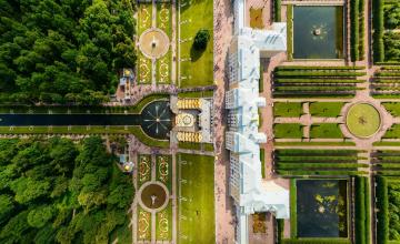 обоя большой каскад,  петергоф, города, санкт-петербург,  петергоф , россия, парки, дворец, фонтаны, панорама
