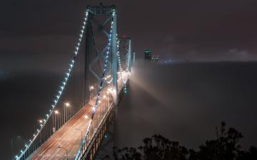 обоя города, - мосты, bay, bridge, san, francisco, fog, bound