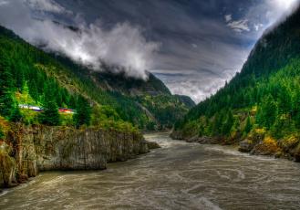 Картинка природа реки озера ущелье горы лес река поезд